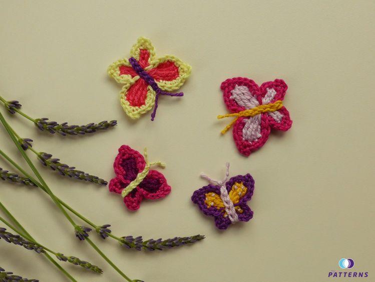Häkelanleitung Schmetterlinge in 2 Größen - myPatterns.de