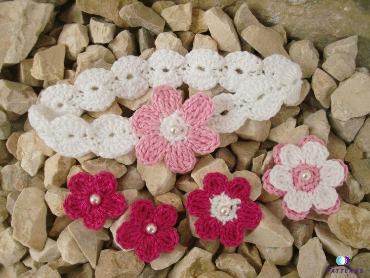 Häkelanleitung Haarband mit 4 verschiedene Blumen - myPatterns.de