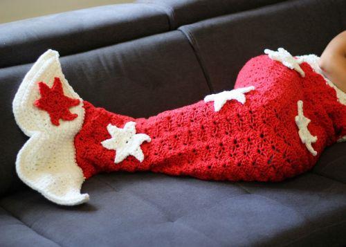 Häkelanleitung Für Eine Weihnachtliche Meerjungfrau Decke