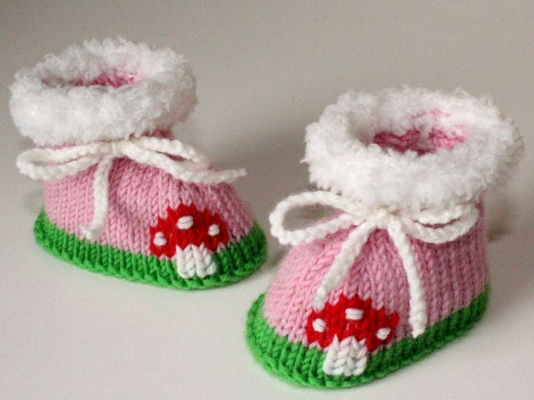 Strickanleitung Baby Schuhe Booties Fliegenpilz 9 Cm Mypatternsde