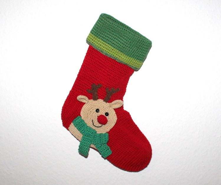 xmas stocking reindeer crochet pattern english version - myPatterns.de