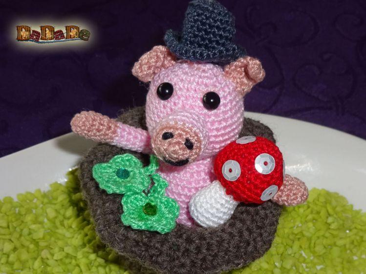 Das Schwein Im Zylinder Dekoration Für Silvester Gehäkelt