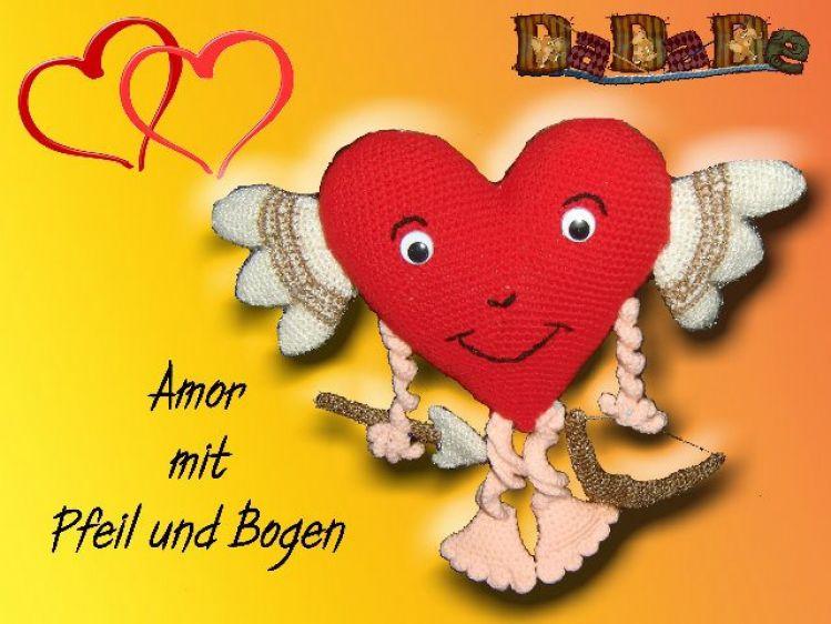Herz Amor, mit Pfeil und Bogen, Häkelanleitung für Verliebte ...