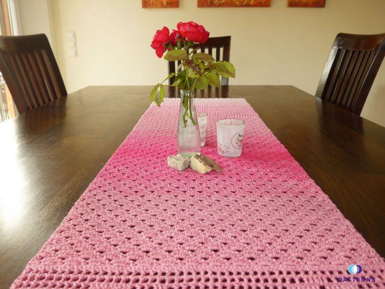 Häkelanleitung Tischläufer Rose Mypatternsde