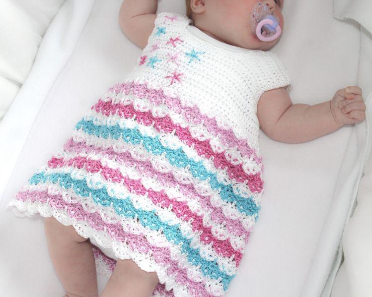 einfache Häkelanleitung Baby Kleid 0-4 Jahre - myPatterns.de