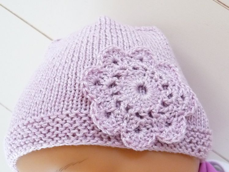 Strickanleitung für Babymütze - Mütze mit Häkelblüte- No.16 ...