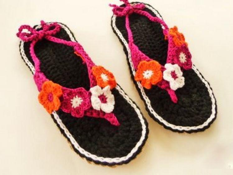 Häkelanleitung Schuhe Häkeln Zehensteg Sandalen Mit Blüten