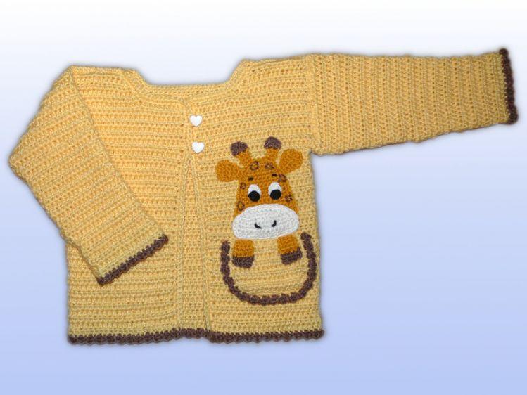 Häkelanleitung Babyjacke Gr. 62/68 und 74/80, Giraffe - myPatterns.de