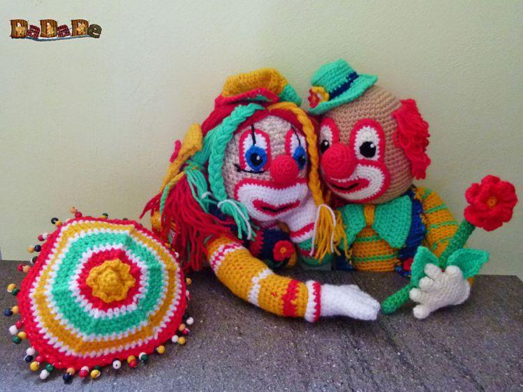 Der Clown Bimbino Und Bimbolina Feiern Valentin Gehäkelt