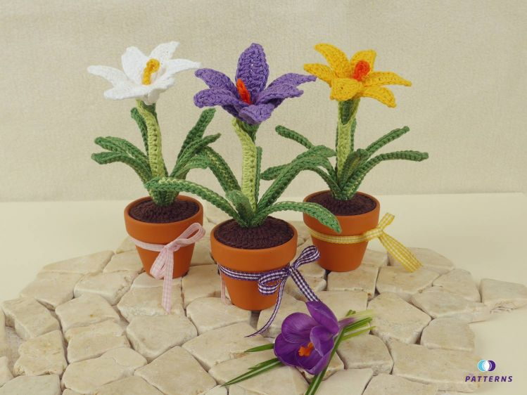 Häkelanleitung Krokus Im Topf Miniblume Mypatternsde